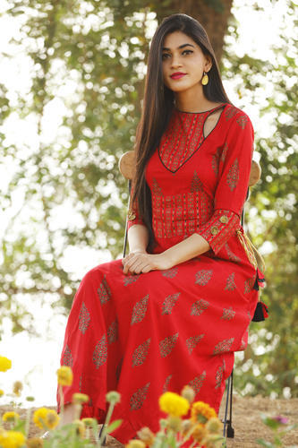da96570474f Rayon Round Neck Full Sleeve Discharge Gold Print Long Partywear Kurti with  Accessories