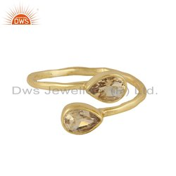 Natural Citrine Gemstone Designer Gold Plated Silver Rings