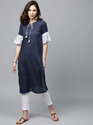Dobby Wove Straight Kurta with Ruffle Sleeve