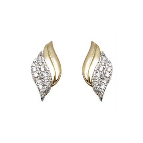 8d3132278 Yellow Gold Diamond Leaf Pattern Studs at Rs 30000 /piece | Diamond ...