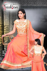 Embroidered Lehenga With Crop Top