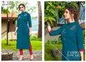 Vastra -Shubha Nx Rayon Slub With Fancy Hand Work Designer Kurtis