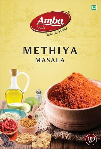 Amba Foods Methiya Masala Packaging Box Rs 30 Packet Id