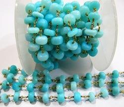 7 to 8mm Natural Peruvian Blue Opal Plain Beaded Chain