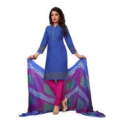 Rajnandini Blue Cotton Printed Unstitched Dress Material