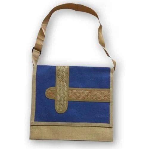 Blue & Brown Plain Jute Laptop Bag
