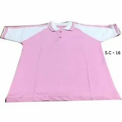 Collar Half Sleeves Pink School T Shirts, Packaging Type: Packet