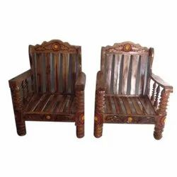 Balaji Furniture Brown Wooden Sofa Chair, for Home, Hotel, No Of Legs: 4