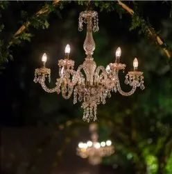 6 Light Glass Crystal Chandelier