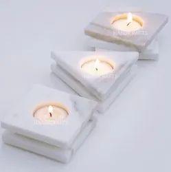 White Marble Tea Light Holder