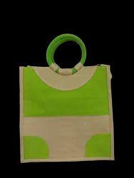 Plain Rubis Round Handle Jute Shopping Bag