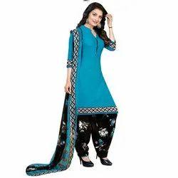 Rajnandini Aqua Blue Crepe Printed Unstitched Dress Material