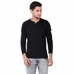 Plain Full Sleeves Men's Henley Full Sleeve T-Shirt