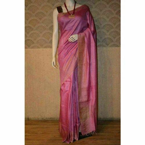2b202627cb Ladies Munga Tussar Silk Dark Pink Plain Saree, Length: 6.3 M, Rs ...