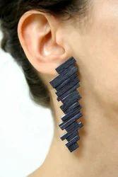 Black Rhodium Women Handmade Statement Fashion Stud Earring