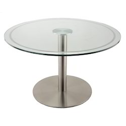 Round Gole Glass SS Base Table