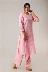New Pattern Design Pink Cotton Hand Embroidered Kurtis With Palazzo