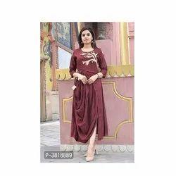 Ladies Designer Rayon Slub Embroidered Kurti, Size: S-xxl