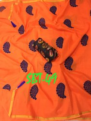 Heavy Embroidery Cotton Saree