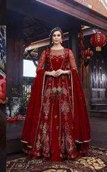 Semi-Stitched Party Wear Anarkali Suit, Dry clean