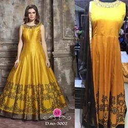 bf1dd5c03fb Silk Indian Ethnic Designer Malbari Bridal Anarkali Suit