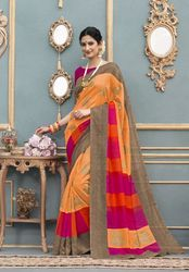 PR Fashion New Orange Color Silk Saree