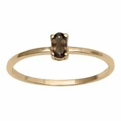 Stackable Pure Fine Gold 9k Smoky Quartz Gemstone Women Engagement Ring