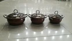Stainless Steel Pan Donga With Glass Lid Combo Of 3 Or 2