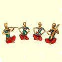 Brass Made Human Music Set of Four Sculpture Traditional Music Instrument  Sculpture Group