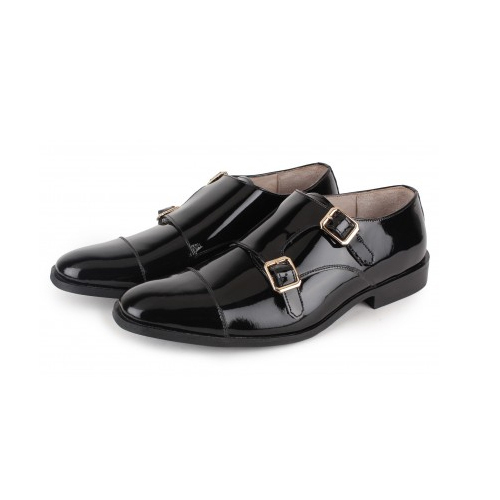 d6a4fdcf19b Mens Leather Patent Black Monk Strap Formal Shoes