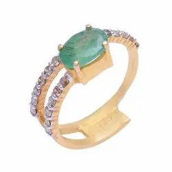 Emerald Diamond Silver Ring