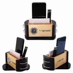 Wooden Mobile Holder with  Pen Stand