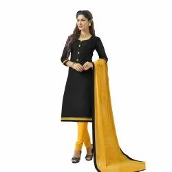 Black And Yellow Coloured Unstitched Salwar Suit