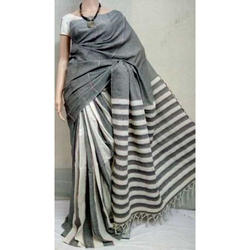 Khadi Gray and White Handloom Sarees, Length: 6.3 m
