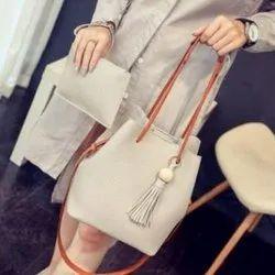 White Vamsum Ladies Fashion Loop Handle Purse