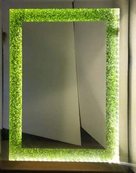 LED Grass Mirror 18 X 24 Inches with Back Side PVC Frame