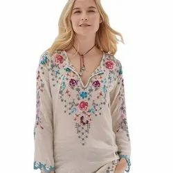 Chicken Embroidered Ladies Top