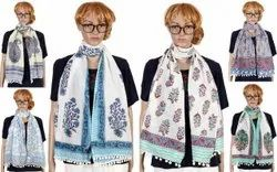 Handblock Printed Scarves With Pompom