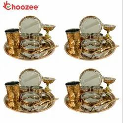 Choozee - Copper Thali Set of 4 (40 Pcs) Plate, Bowl, Spoon,Glass & Ice-Cream Cup