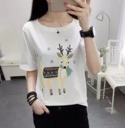 Half Sleeve Ladies T-Shirt, Size: Free