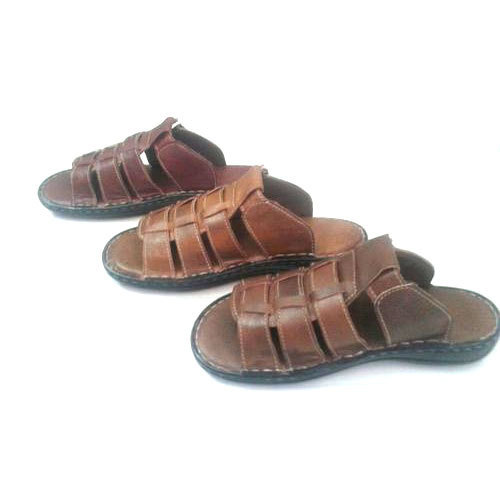 e80d050e74a7 Men  s Leather Brown Casual Sandal