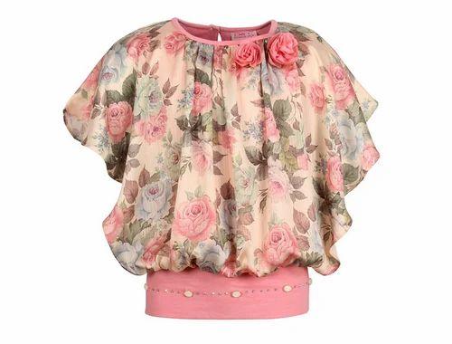 c019ef5832e Cutecumber Girls Satin Floral Printed CoralPink Top at Rs 686  piece ...