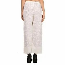 Casual Wear Ladies White Chikan Cotton Palazzo, Size: Free Szie