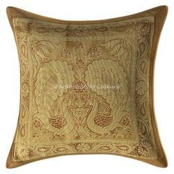 Beige Gold Brocade Throw Pillow Case Cushion Covers