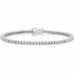 14K Diamond Tennis Single Line White Gold Bracelet