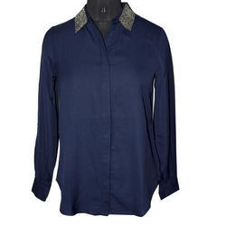 Georgette Navy Blue Collar Women's Shirt