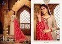 Satin Gorgette Pakistani Designer Stylish Embroidered Suit With Banarasi Dupatta, Dry Clean