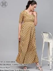 Striped Printed Tie-Up Maternity Dress