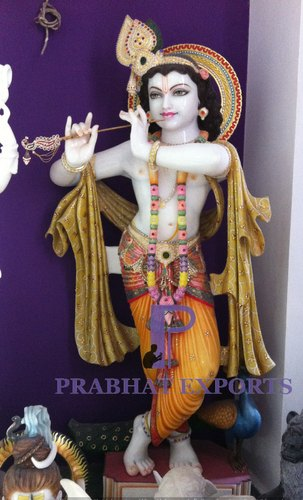 White Marble Lord Krishna Statue With Flute