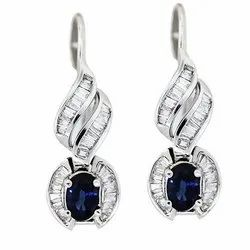 Blue Stone Diamond Earring